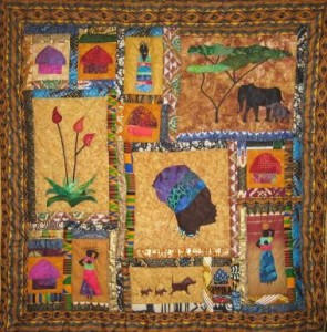 The vibrant quilts at Kalahari Quilts in Gabarone, Botswana