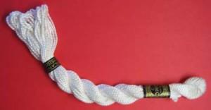 A skein of cotton perle DMC.