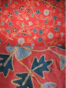 Beautiful chained stitched embroidery on cotton.